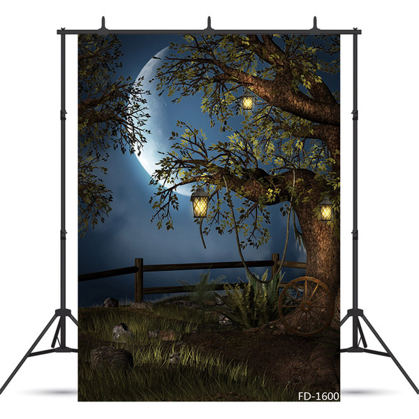 moon tree photography backdrops for children kids baby shower new born vinyl cloth computer printed photo backgrounds photo studio