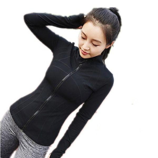 Zip Jacket Cardigan esportes femininos Correndo Jacket manga longa Top Quick-seco Slim Fit Yoga roupa Slimming Academia Suit Outono