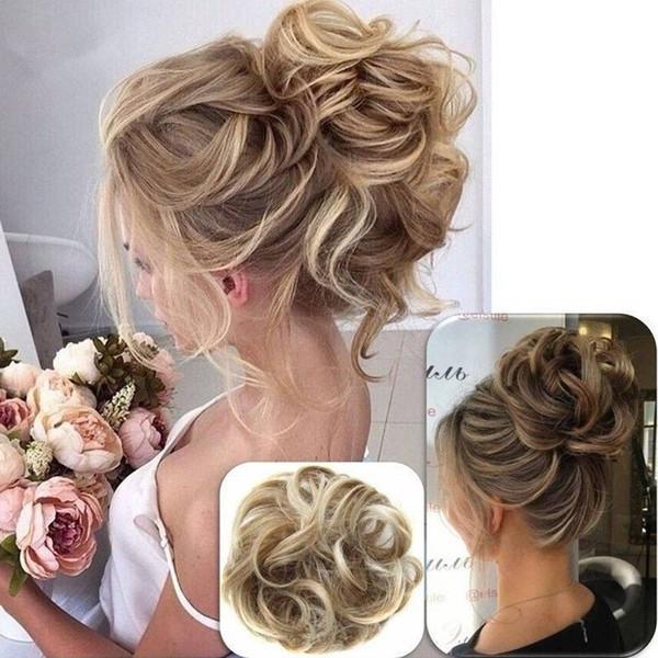 Curly Messy Bun Hair Piece Hair Scrunchie Fake Natural Look Extensions Hairpiece 2018 New Wig Bride Modelling Half Ball Head Straight Flower Bun
