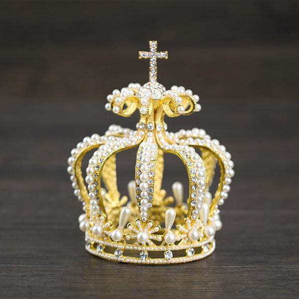 Vintage Altın Kristal İnci Yuvarlak Gelin Tiara Düğün Taç İçin Kraliçe Diadem Kadınlar Gelin Saç Aksesuarları Balo Saç Takı