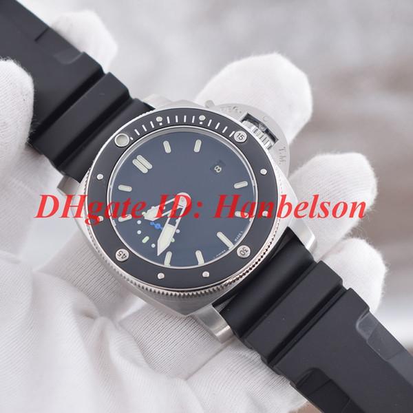 NUEVO reloj para hombre Caja de acero inoxidable de alta calidad Bisel giratorio de cerámica Movimiento mecánico automático Dial negro Banda de goma