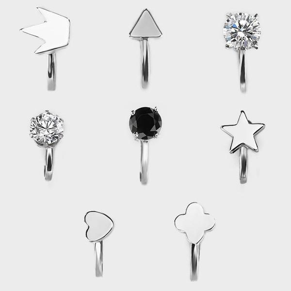 Geometrische Ohrringe für Frauen schön versilbert Kupfer Dreieck Liebeskrone Stern einfachen Ohrring Ohrclip
