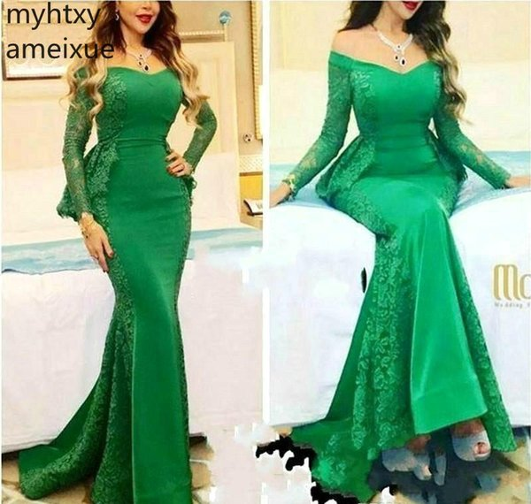 2019 Myriam Fares Long Sleeves Evening Dresses Mermaid Red Carpet Formal Wear Party Gowns Plus Size Custom Made Robe De Soiree