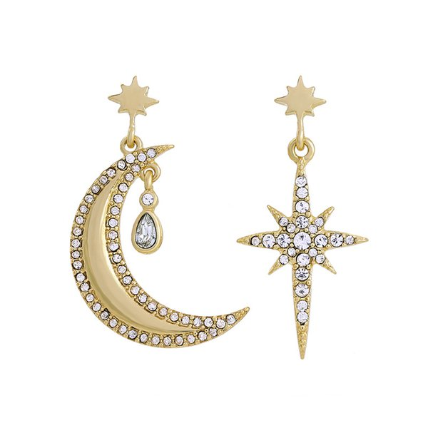 High Quality Fashion Diamond-studded Crescent Moon and Star Pattern Ear Stud for Women, Fashion Jewelry Irregular Earrings