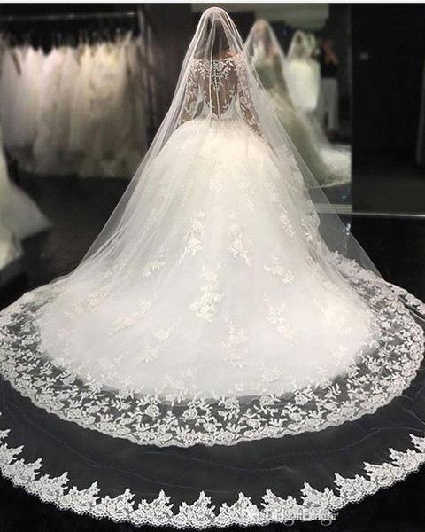 Luxury Bridal Veils Wedding Hair Accessories White Ivory Long Crystal Beaded Bling Lace Tulle Cathedral Length 3M Church Veil