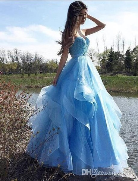 Women Strapless Sweetheart Full Length Blue Organza New Evening Dress Modern Prom Dress For Formal Occasion Party Hand made Plus Size