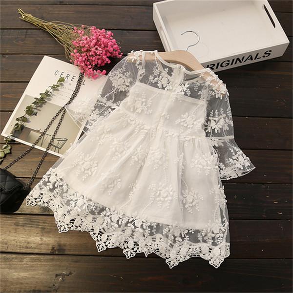 Qualidade Verão Bebê Menina vestido de Princesa Crianças lindas crianças vestido de Renda roupas de Bebê Meninas roupas de Aniversário pary vestidos
