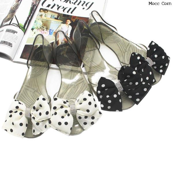 Crystal Women Sandals Summer Jelly Shoes Women Casual Flat Fashion Bow Beach Sandals Peep Toe Clear Flip Flops Anti-slip Shoes