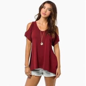 Women Fishtail Hem T-shirt Ladies Solid Bare Shoulder Strapless v-neck Shirt Short Sleeved Irregular Hem T-shirt LJJW84