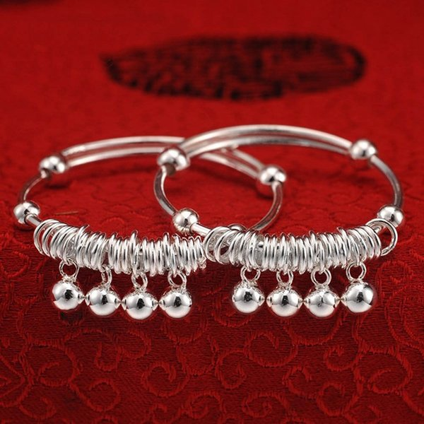 Adjustable Baby Bracelet Silver-plated Bell Bangle Bracelet Jewelry Cute Child Baby Bell Bangle Jewelry For Kids Gift