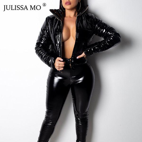 JULISSA MO Fur PU Stand Collar Bomber Jacket Women Cotton-Padded Parka Thick Warm Coat 2018 Winter Casual Zipper Overcoat mujer