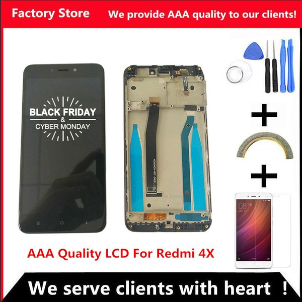 Quality LCD+Frame For Xiaomi Redmi 4X LCD Display Screen Replacement For Redmi 4X Digiziter Assembly
