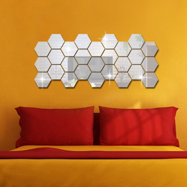 Free Shipping 12pcs Hexagon Decorative 3D Acrylic Mirror Wall Stickers Living Room Bedroom Home Decor Room Decoration 8*8CM
