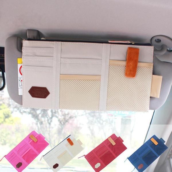 Multifunción Bolsa de almacenamiento de visera solar Bolsa de CD de coche Bolsa de organizador de almacenamiento de tarjetas Vehículos Visera solar Organizador de coche GGA989