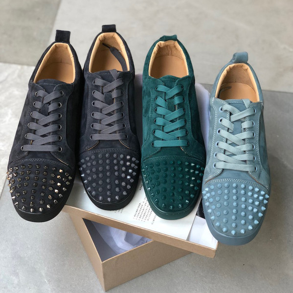 2019 Sneaker Studded Spikes men trainers Red Bottom Shoes Top quality GREY NEW Designer Brand Flats 100% Genuine Leather For US 5-12 L05