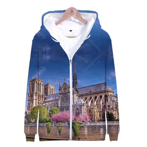 3D Notre Torte Dame de Paris moda hombre cremallera Hoodies sudadera Chaqueta de invierno Popular algodón prendas de vestir exteriores de manga larga