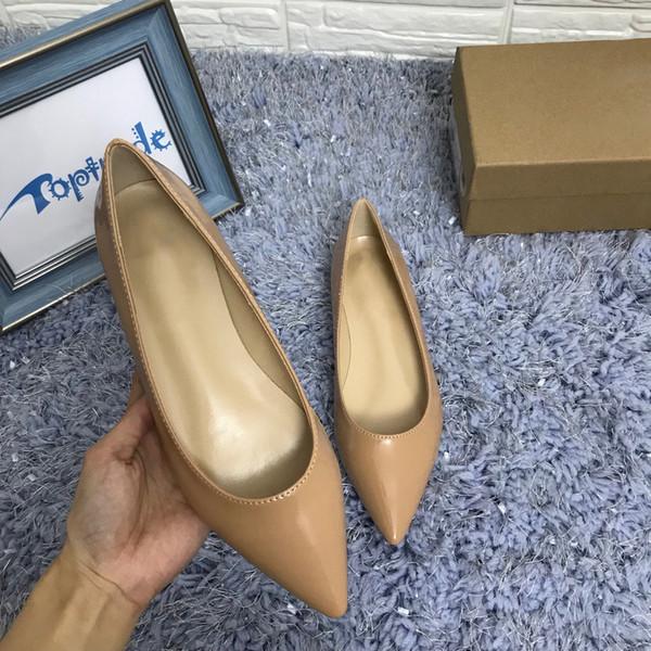 top popular Designer Leather Women Dress Shoes Red Sole Flat Heel Shoe Classic Red Bottom Women Wedding Party Shoe Black Slip-On Style 2019