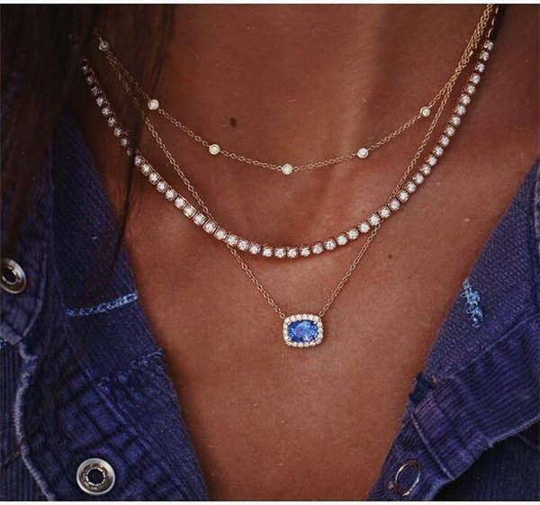 Gold color Choker Necklace for women Long eye Tassel Pendant Chain Necklaces & Pendants Laces velvet chokers Fashion Jewelry ALXY07