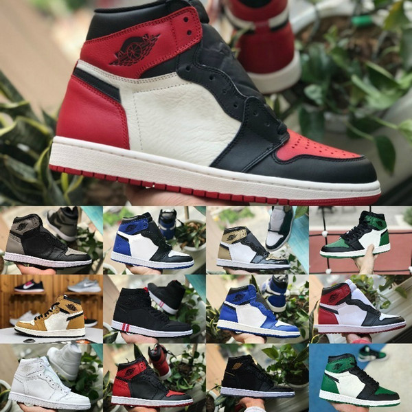 2019 Nike Air Jordan 1 retro jordans Top 3 Jeux Bleu Royal Basketball Chaussures Hommes Femmes Rouge 1s Court Violet Pin Vert Blé Ombre Chicago Mode Baskets