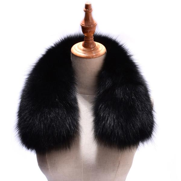 Women Real Fox Fur Collars for Coat Jacket Solid Black Color Scarves Female Fashion Warm Genuine Fox Fur Winter Scarf D19011004