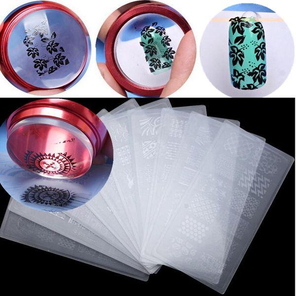 3 unids / set Nail Art 3.5 cm Jelly Stamper Estampación de silicona con tapa + Raspador + Placa de plantilla Polaco Transferencia de imagen Herramientas de manicura
