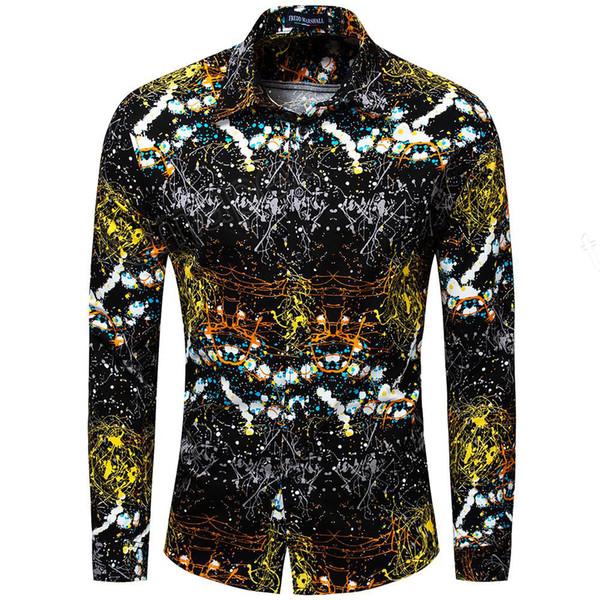 New 2019 Men Brand Clothing Slim Fit Hip Hop Shirt Men Long Sleeve 3D Print Hawaiian Shirt Casual Streetwear 31