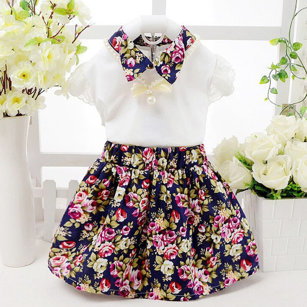 good quality summer baby girls dress clothing sets 2PCS new cotton T-shirt+ lace printed flowers dress clothing suit for baby girls