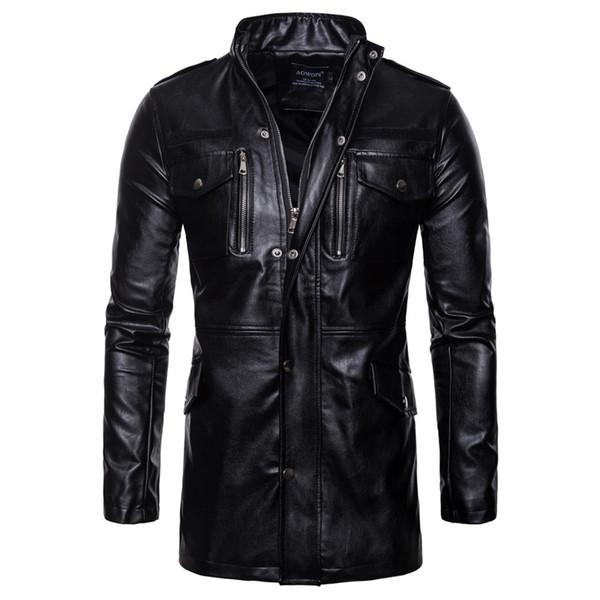 Acheter Vêtement En Cuir Long Col Montant Veste En Cuir Moto Quatre Poches Nouvelle Automne 2019 Manteau Moderne Vestes Mode Hommes De $36.07 Du