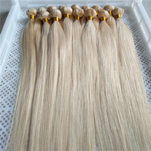Yeni Stil Platin Sarışın Brezilyalı Bakire Düz Saç Örgü Demetleri 10-30 Inç Brezilyalı Olmayan Remy Saç Uzantıları 100% İnsan Saç Weavin