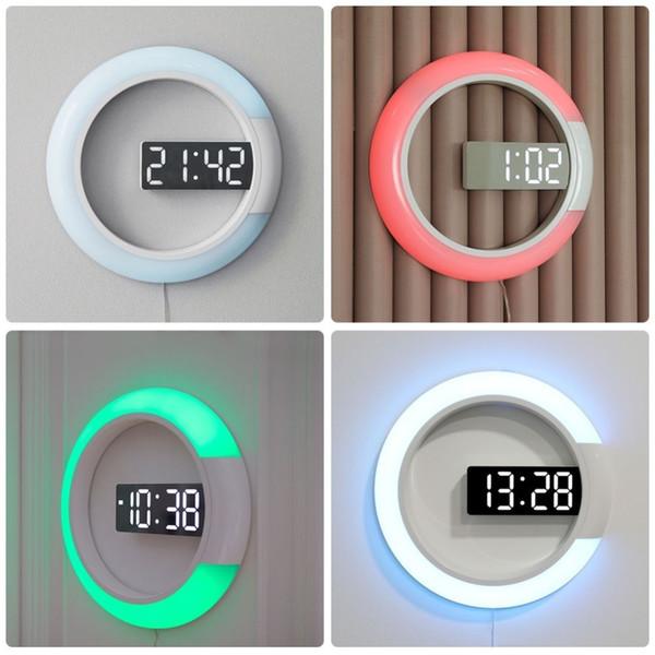 12 pollici Creative LED a specchio Hollow Orologio da parete Telecomando digitale con allarme temperatura Dimming Ring Light 7 Cambia colore