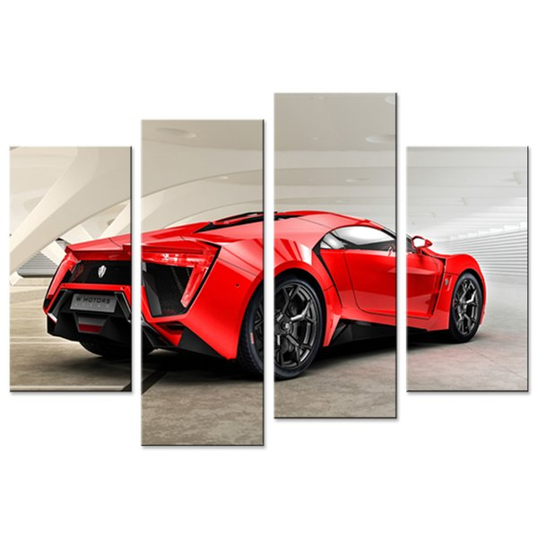 Amosi Art 4 Pieces Canvas Wall Art Red Sports Car Canvas Prints Painting Modern for Home Living Room Decoration Unframed Gifts