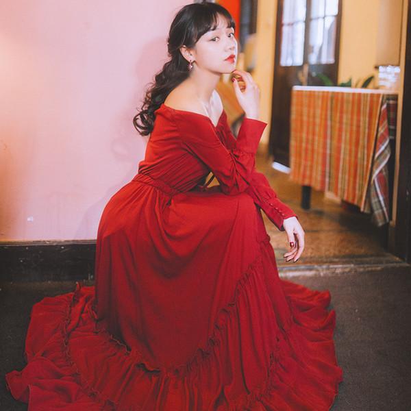 Schulterfrei Kleid Boho Ruffle Trim Maxi Lange Frauen Strandurlaub Täglich Elegante Rote Kleider 1202