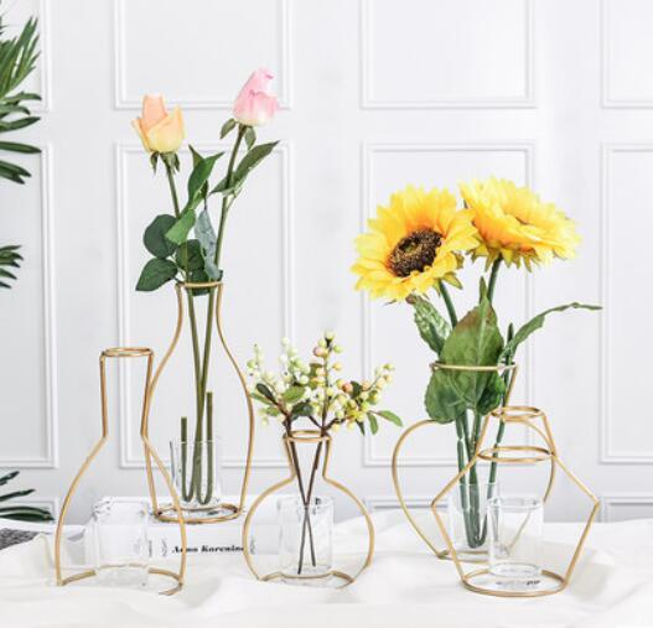 Nordic style simple geometric iron hydroponic vase decoration dry flower arrangement table simple design ornaments