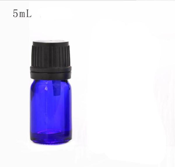 Botella de vidrio azul cobalto caliente de 5 ml, botella de aceite esencial de mini vidrio con tapas de plástico, envío gratis