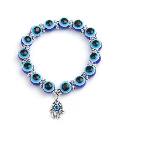 Nueva moda Simple Evil Eye mano encanto religioso cuentas azules pulsera Lucky Match mejor pulsera turca para mujeres
