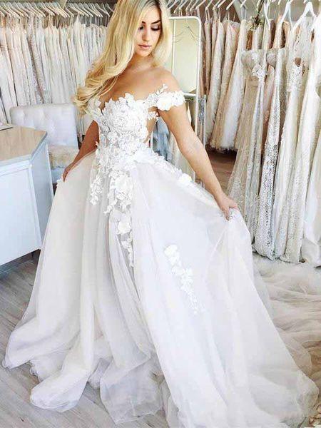 2019 A linha do casamento vestidos de noiva fora do ombro novos apliques de tule ilusão até o chão vestidos de casamento 2019