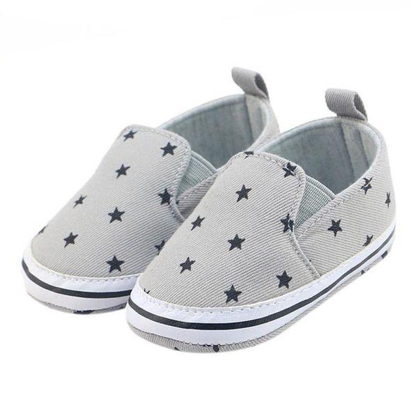 Infant soft Shoes Infant Anti-Slip Crib Cotton Shoes Prewalker Toddler Girls Kid Gray Star Print Soft 0-18 Months