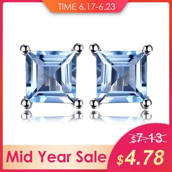 ewelry tungsten JewelryPalace Square 0.7ct Natural Sky Blue Topazs 925 Sterling Silver Stud Earrings Fine Jewelry For Women Gem Stone Ear...