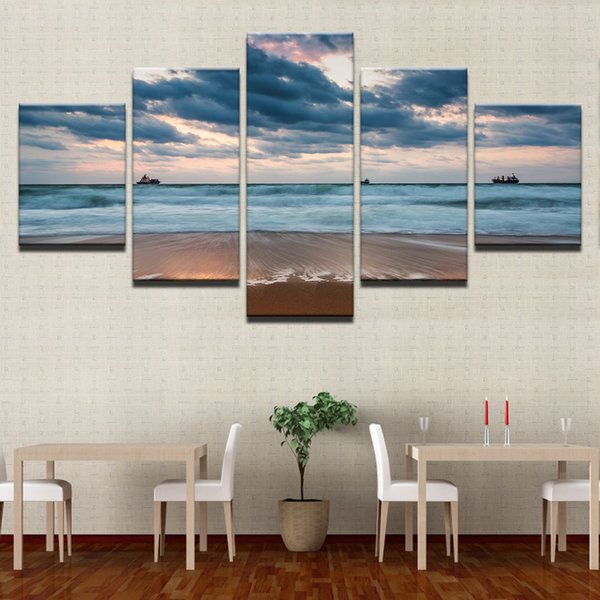 HD Prints Painting Home Decor Canvas Living Room Framework 5 Piece Sea Waves Beach Pictures Cloudy Boat Seascape Poster Wall Art