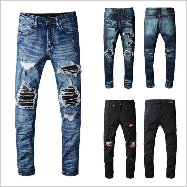 남성 디자이너 바지 새로운 패션 브랜드 남성 블랙 청바지 스키니 남성 디자이너 청바지 데님 오토바이 자전거 타는 바지 남성 청바지 찢어진