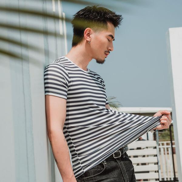 E-BAIHUI 2019 Men T Shirt Fashion Short Sleeve Slim Fit Striped Tops O-Neck Male T-Shirt Tee Plus Size Tshirt Tee Shirt Homme 1908