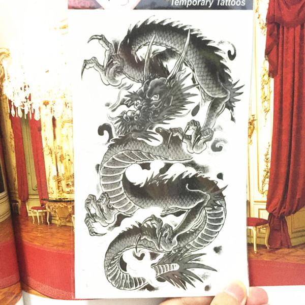Art de corps de tatouage provisoire de dragon chinois noir de Shnapign, autocollants instantanés de tatouage de 12 * 20cm, autocollant imperméable de faux tatouage de henné T190711
