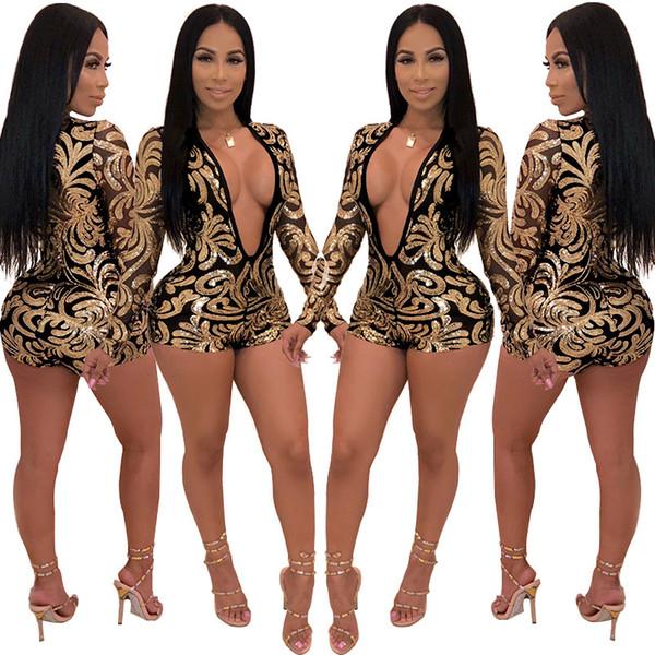 Sexy profond v-cou imprimer paillettes combinaison femmes femmes combinaisons barboteuses sexy discothèque femmes pantalons pantalons