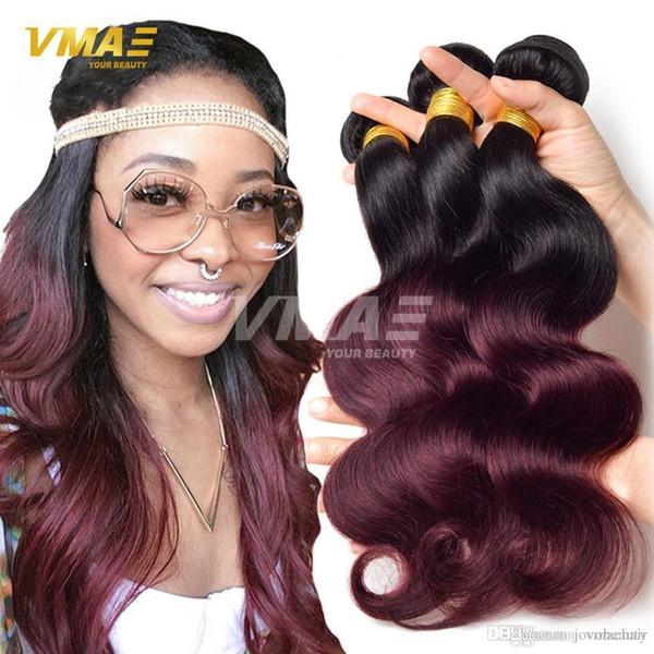 Satılık Ombre Saç Paketler Brezilyalı Virgin Saç Vücut Dalga Paketler Ombre İnsan Saç Dokuma İki Ton Burgundy 1b Ombre Brezilyalı opp Açık