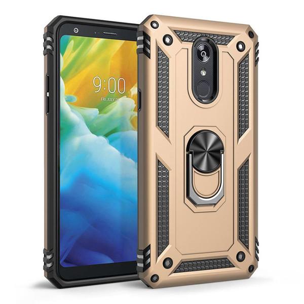 For LG K30 2019 Escape Stylo 5 K40 Aristo 4 Plus 3 Tribute Emprie Samsung Galaxy J3 J7 Magnetic Car Mount Phone Case Finger Ring Kickstand