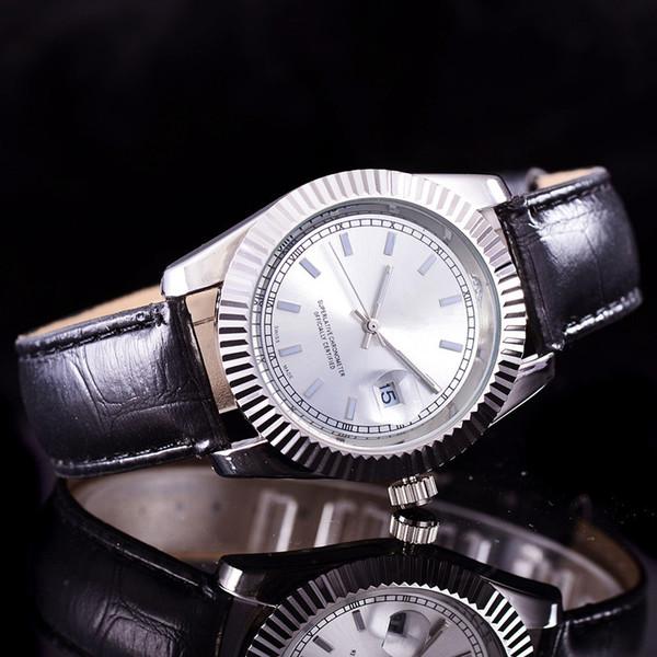 Fecha del día de la moda solo presidente Relojes de la marca de relojes de alta calidad para hombre Relojes de cuero de calidad superior para hombre Reloj de oro bisel Roma esfera negra