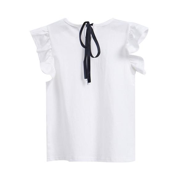 Mädchen Sommerkleid 2019 neue Kinder Baumwolle ärmellose Rüschenärmel T-Shirt einer Generation