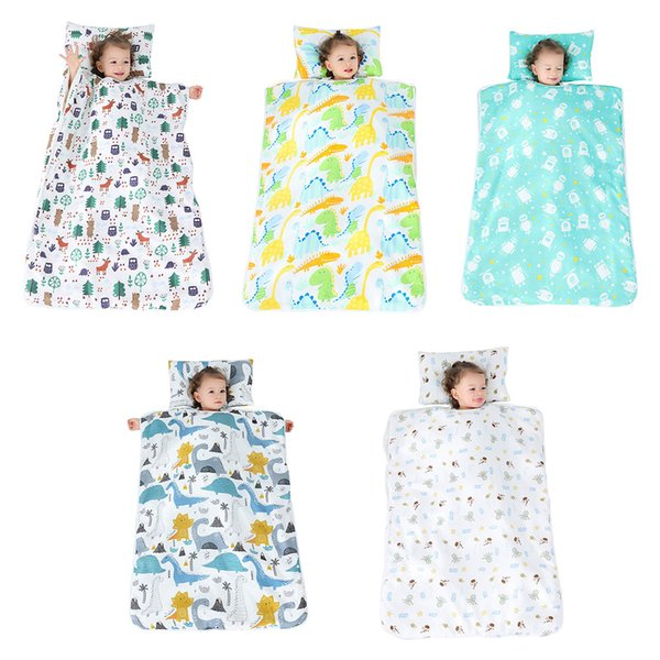 Kid Nap Mat Toddler Cotton Nap Pad For Preschool Daycare Kindergarten Travel Removable Pillow Sleeping Bag Cotton Blankets Baby Receiving Blankets For