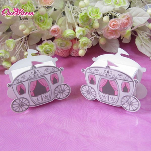 Event Party Gift es Bags 25 pcs/lot, Hot Sale Cinderella Enchanted Carriage Marriage Box Wedding Favor Boxes Gift Candy box