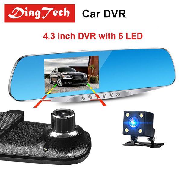 Espelho Retrovisor Do Carro Espelho de Vídeo Carro Com Câmeras Duplas DVR 4.3 polegada Full HD 1080 P Dual Lens Câmera de Visão Traseira Dashcam